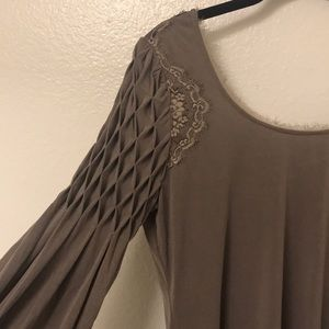 Free People tan textured long sleeve dress